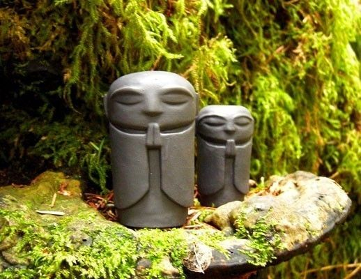 Delightful Tiny Jizo Statues, Guardian Of Women, Children And Travelers And Symbolic  Of Courage,