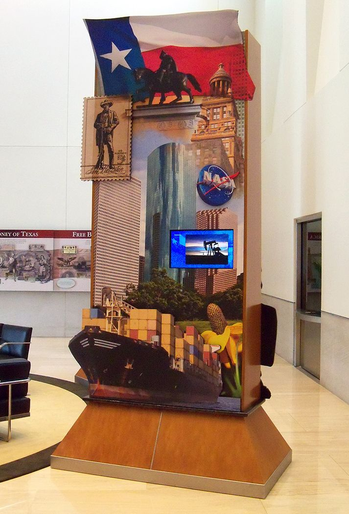 Pylon Design- Exhibit lobby of the Federal Reserve Bank of Dallas. This 4' by 9' pylon design has stand-off embellishments throughout & depicts prominent images from the surrounding region of Houston TX. Museum Arts Inc. of Dallas, TX was responsible for the design, fabrication and installation of this exhibit. © KT