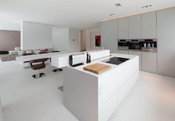 Kitchen Storage And Layout Beside Living Room At Modern House Twin Cubic Form With Natural Environment