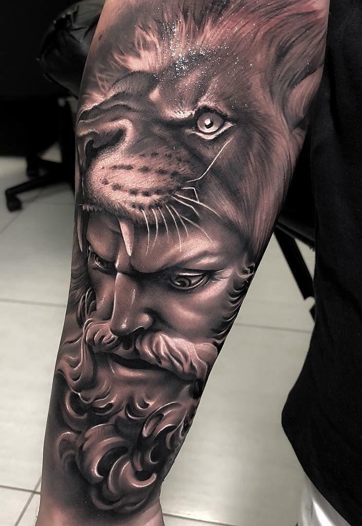 Awesome Black Gray Lion Tattoo C Tattoo Artist Samurai Standoff Mythology Tattoos Greek Tattoos Hercules Tattoo