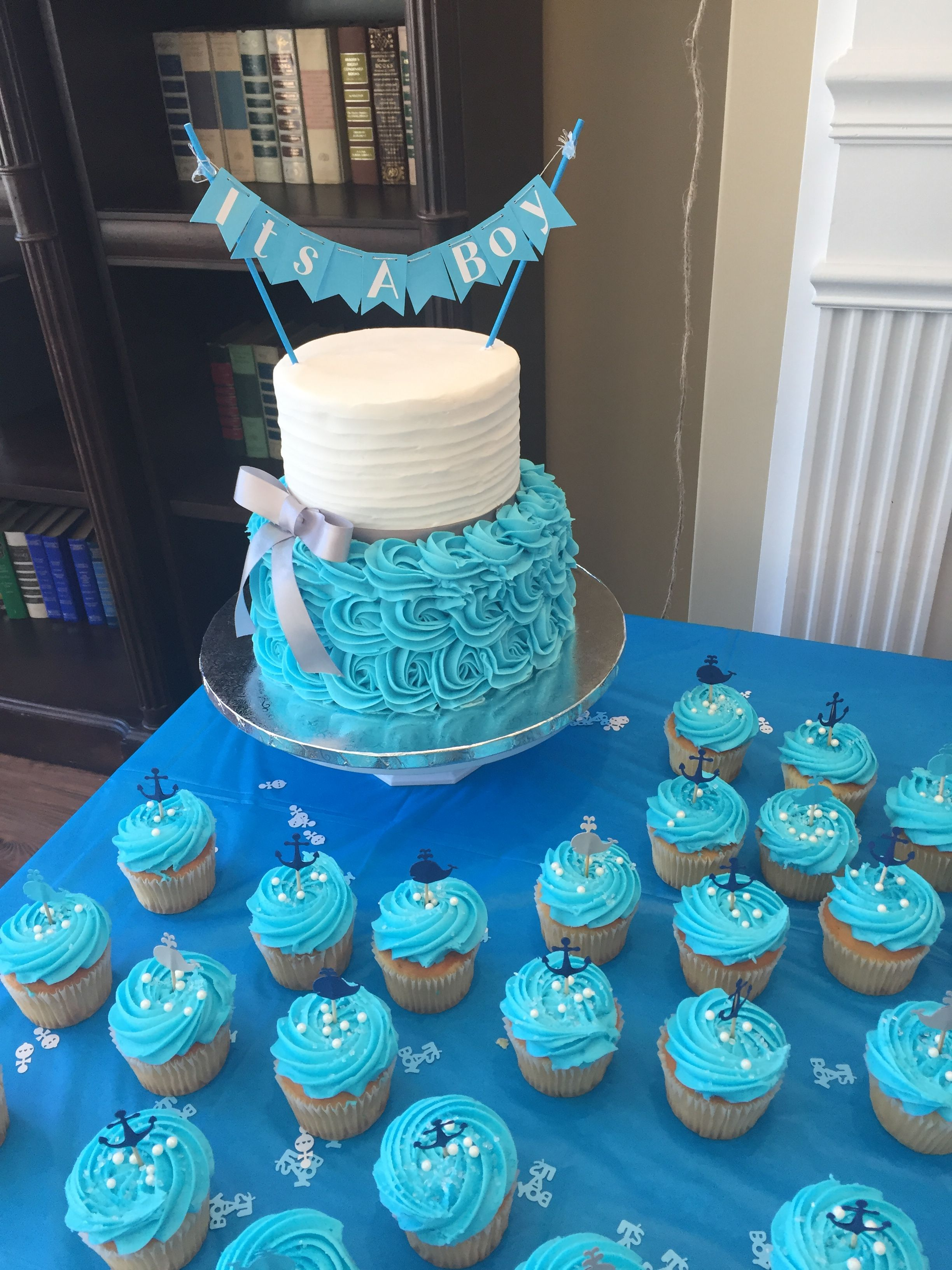 Baby Shower Cake With Images Baby Shower Cakes For Boys Blue