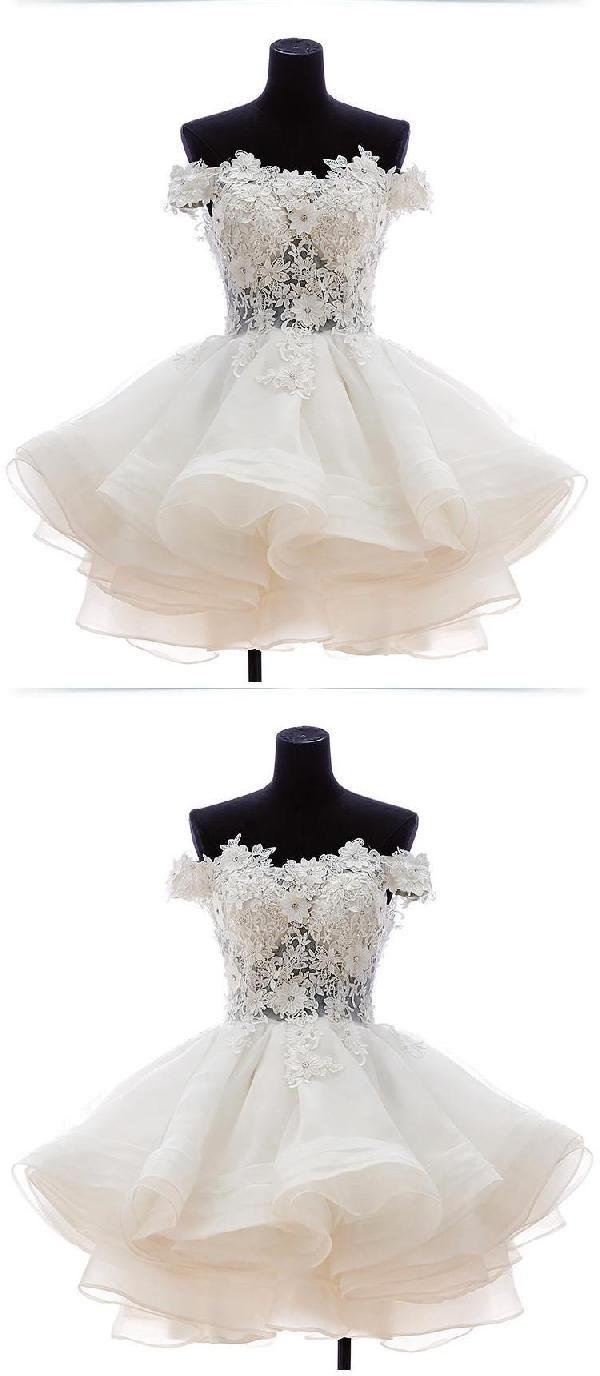 Cheap soft prom dresses short white prom dresses dressing