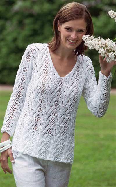 Белый Ажурный Пуловер