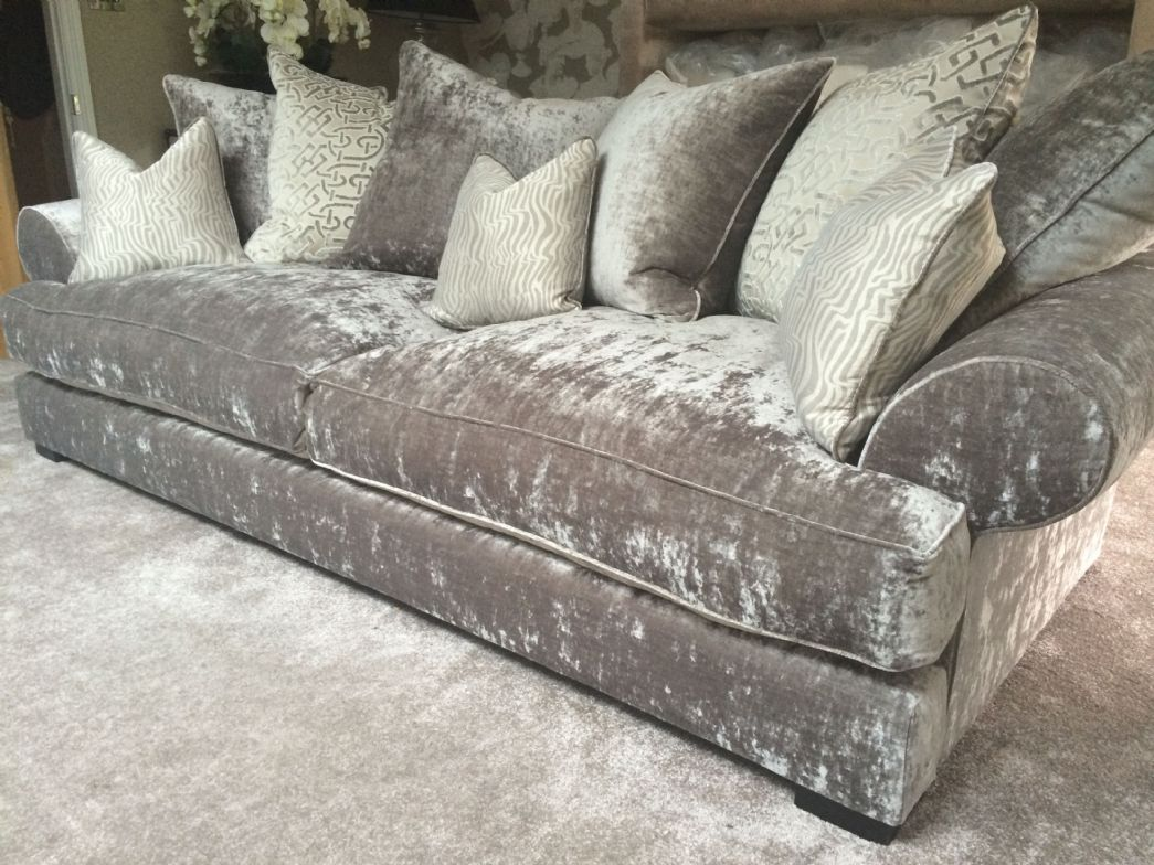 Velvet Grey Tufted Sofa Designer Fabric Singapore On Thesofa