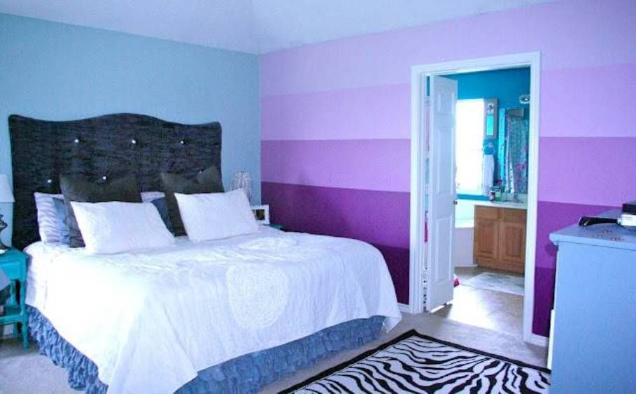 Diy Accent Wall Ideas Bedroom Wall Paint Ombre Interior Blue