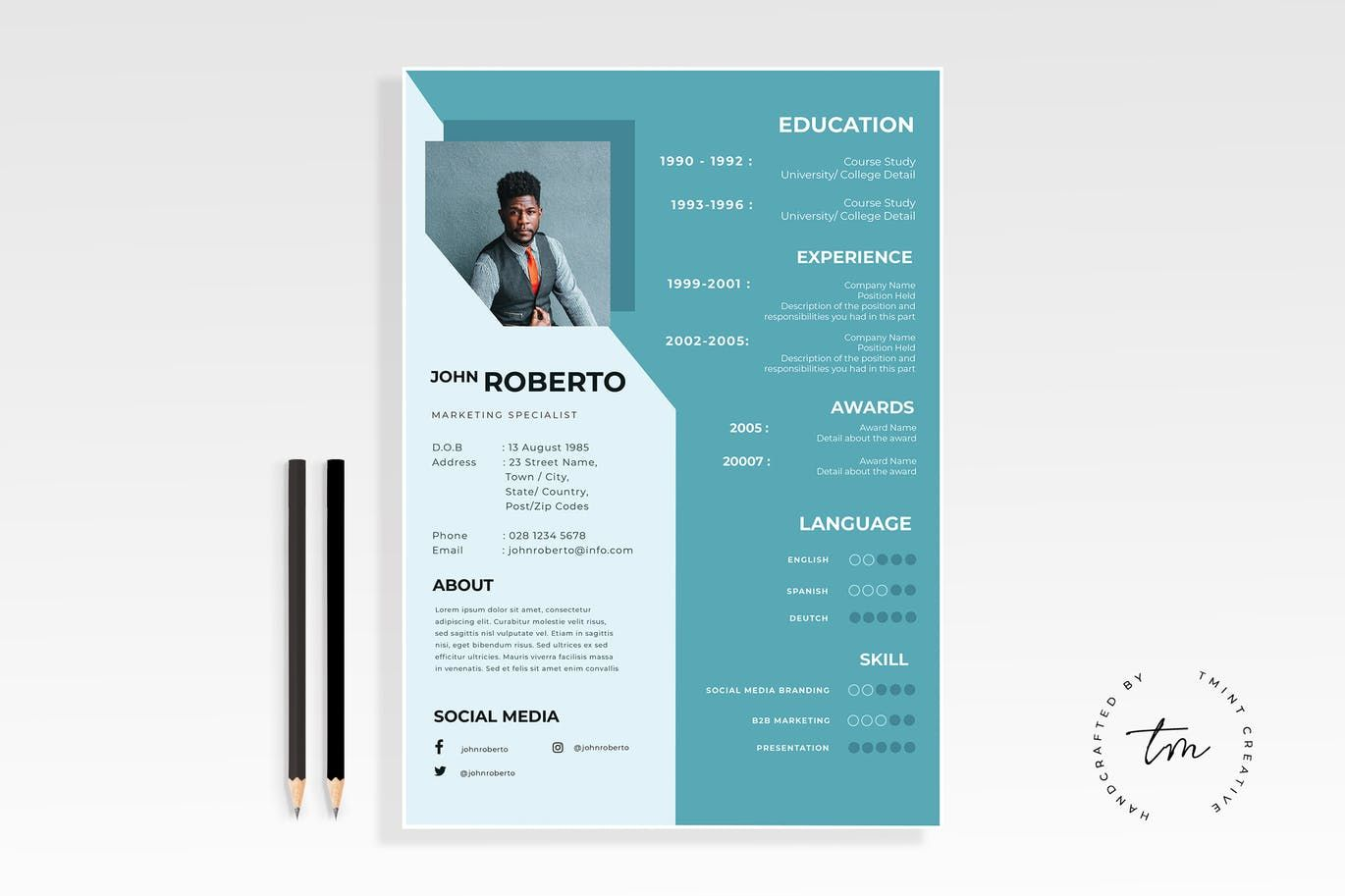 Resume Cv Template By Tmint On Envato Elements Resume Cv Cv Template Resume