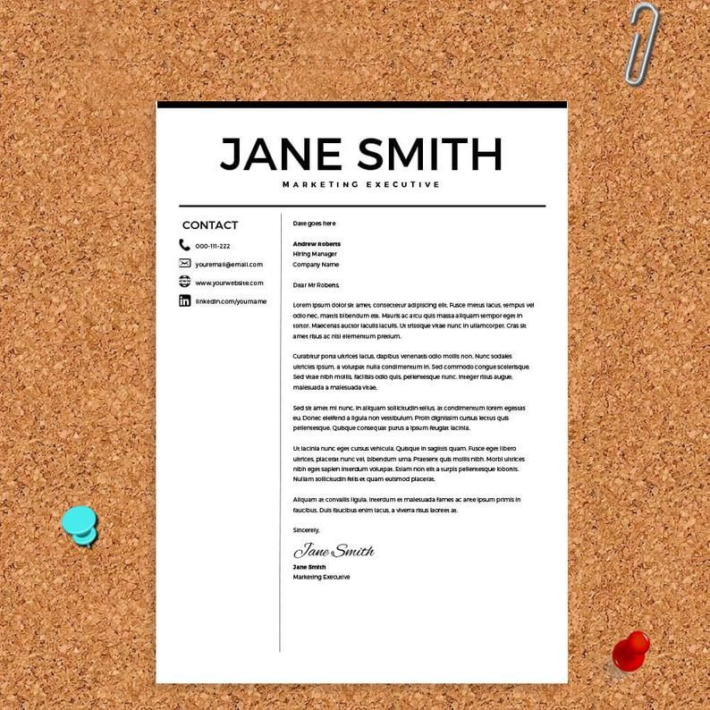 Resume For Microsoft Word Minimal Resume Template Cv Template Cover Letter For Ms Word Best Resume Templates Instant Download Resume Microsoft Word Minimal Resume Minimal Resume Template
