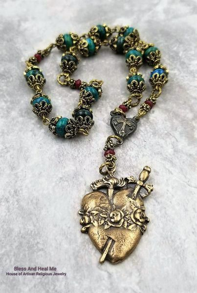 Immaculate Heart of Mary Chrysocolla Bronze Devotional Rosary | Artisan Hancrafted Catholic Rosaries and Christian Faith Jewelry #Rosary #rosaryjewelry