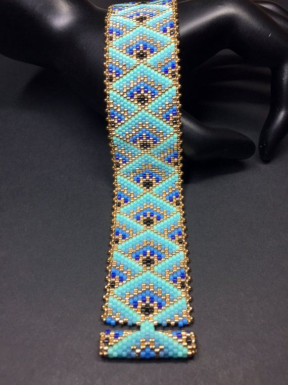 PATTERN - Single Peyote - Decorative Boxes Bracelet #craftstosell