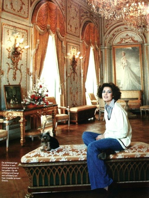 18-year-old Princess Caroline, in the background is a painting of her mother Princess Gracia
