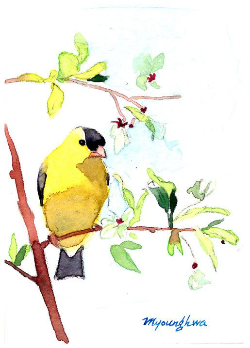 ACEO Limited Edition - A visit of a goldfinch