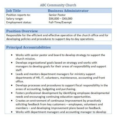 church business administrator job description - Church Administrator Salary