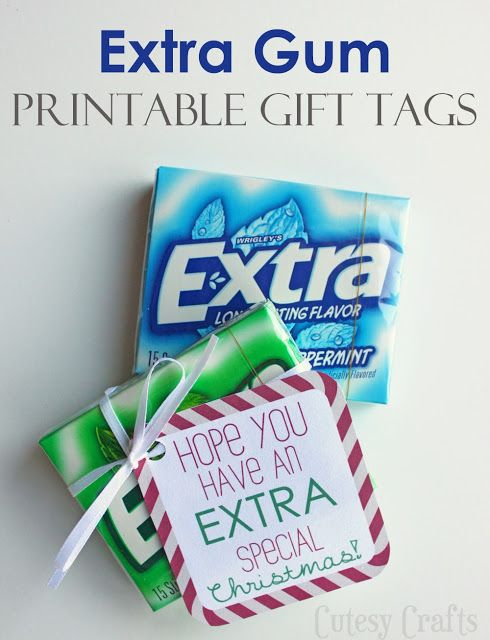 Extra Gum Printable Gift Tags for Christmas - Cutesy Crafts