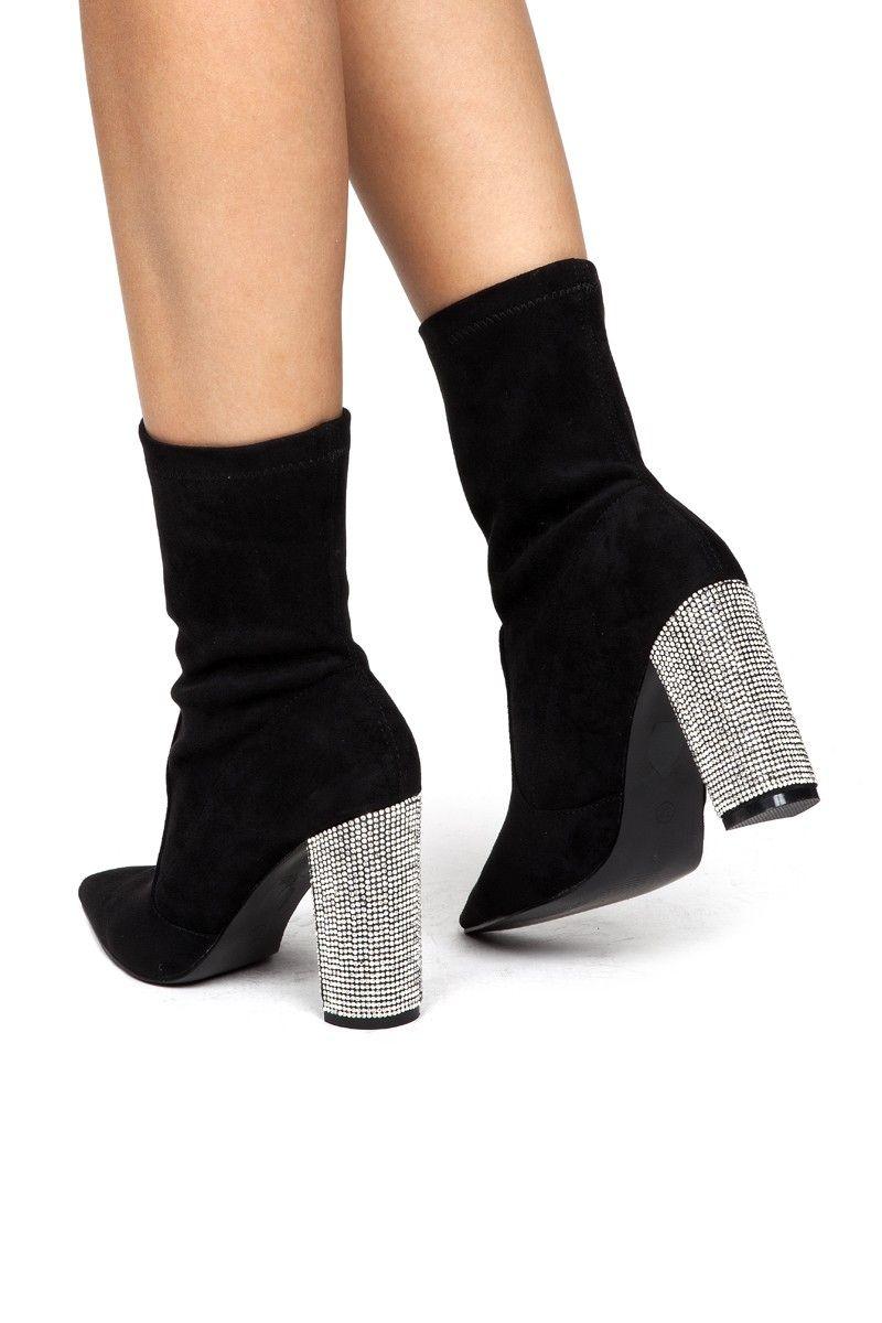 bottines chaussette hautes talon carré
