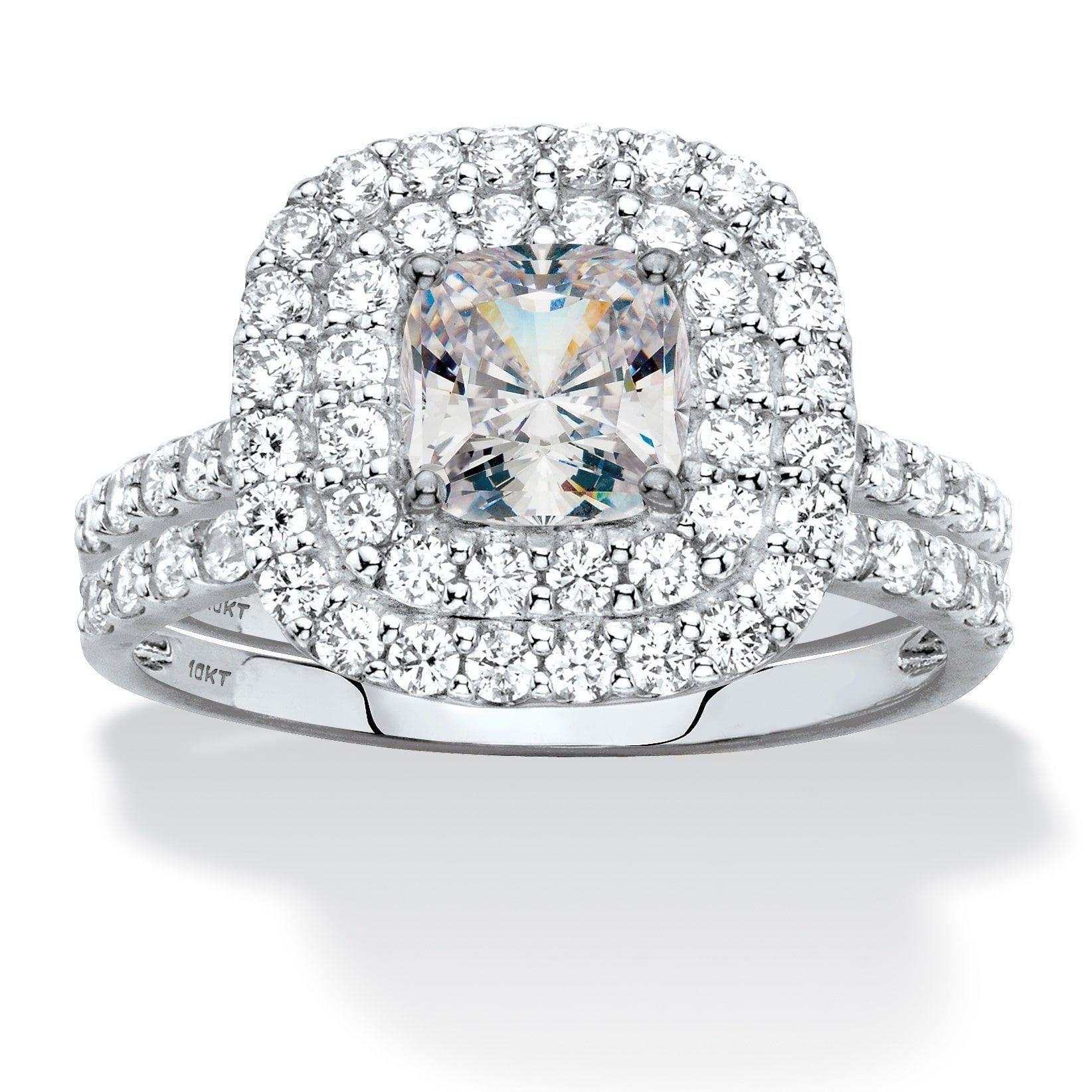 10K White Gold Cubic Zirconia Bridal Ring Set Wedding