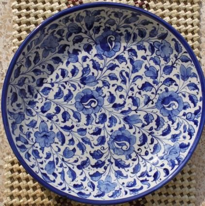 Traditional Kashikari Art From Mughal Rule In India On Pottery Blue Pottery Designs Blue Pottery Pottery
