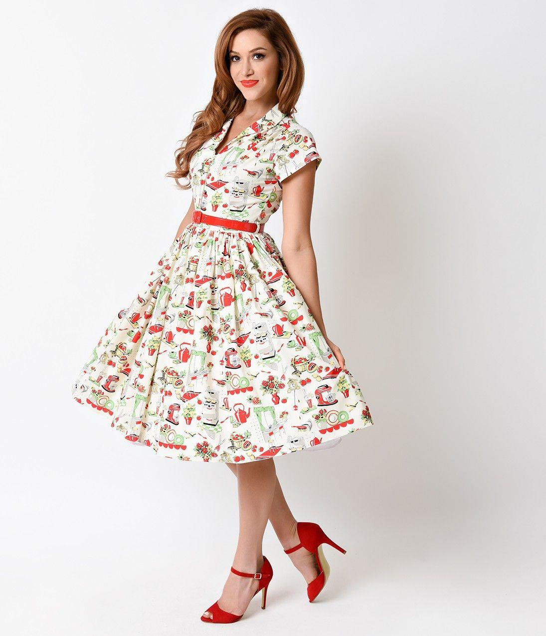 Bernie Dexter 1950s Kitchen Print Kelly Cap Sleeve Swing Dress ...