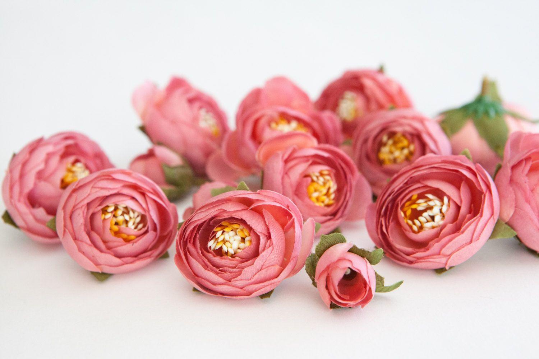 15 Small Mini Ranunculus In Pink Silk Artificial Flower Millinery