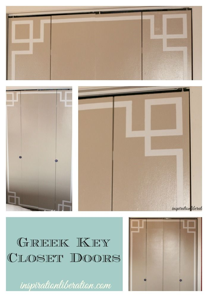 Painted Greek Key Design On Ugly Closet Doors So Easy Walls