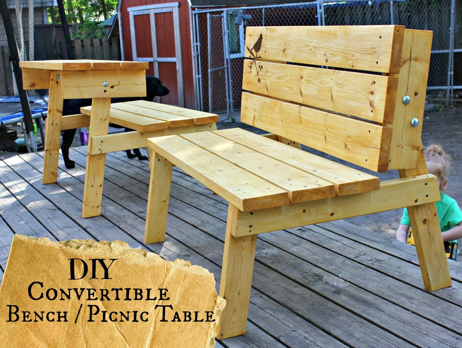 The Good Kind of Crazy: Convertible Bench/Picnic Table you can make TOMORROW!