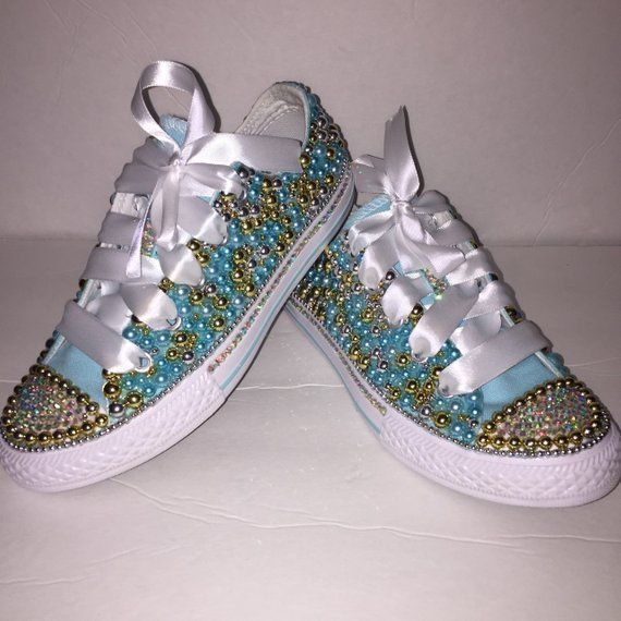 5c0c77b4a90f Kids Teal Gold Bedazzled Bling Converse All Star Chuck Taylor Sneakers