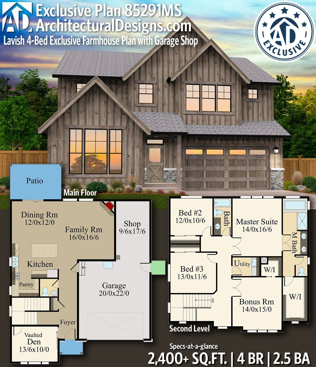 Plan 85291ms Lavish 4 Bed Exclusive Farmhouse Plan With Garage Shop Rustic House Plans Farmhouse Plans Architecture Design