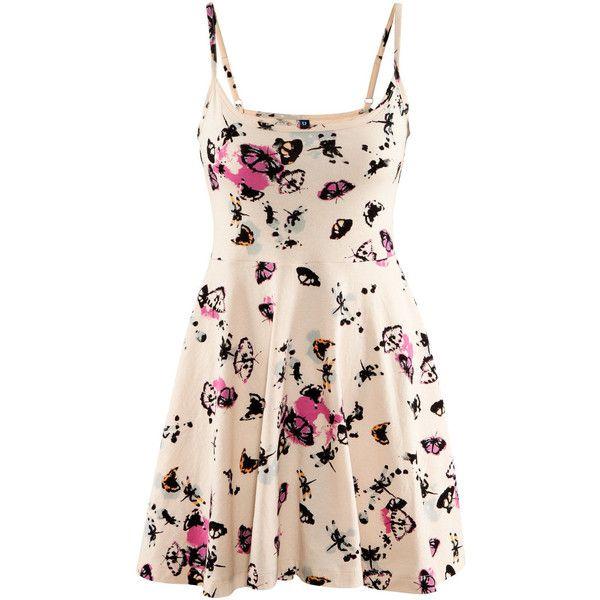 H&M Dress (34 BRL) ❤ liked on Polyvore featuring dresses, vestidos, short dresses, sukienki, flare mini dress, cotton mini dress, pink mini dress, h&m dresses and short jersey dress