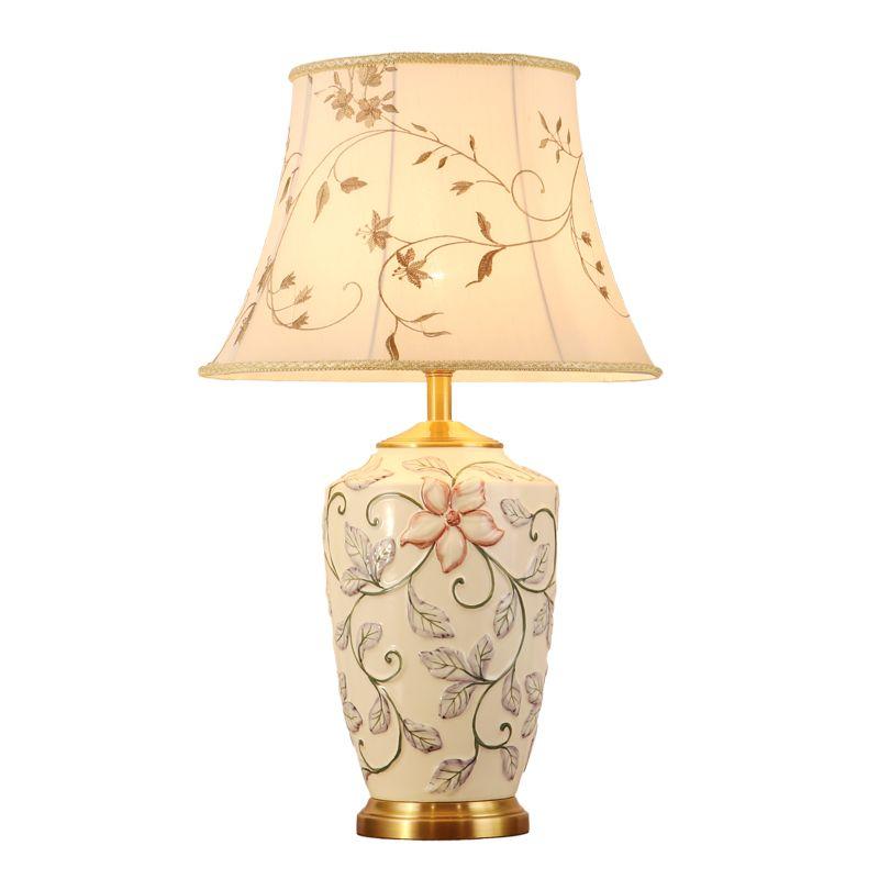 New Pastoral Hand Painted 3d Flowers Ceramic Fabric Led E27 Table Lamp For Living Room Bedroom Hotel Porcelain Desk Lamps Living Room Desk Light Led Table Lamp
