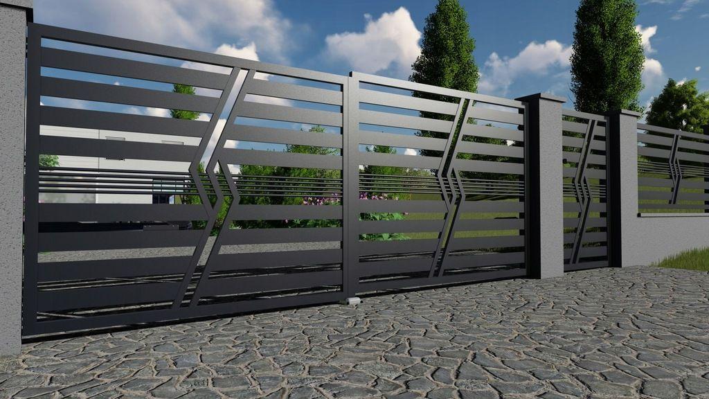 Nowoczesne Ogrodzenia Panelowe Bramy Wjazdowe 369 8675386438 Allegro Pl House Gate Design Entrance Gates Design Gate Design