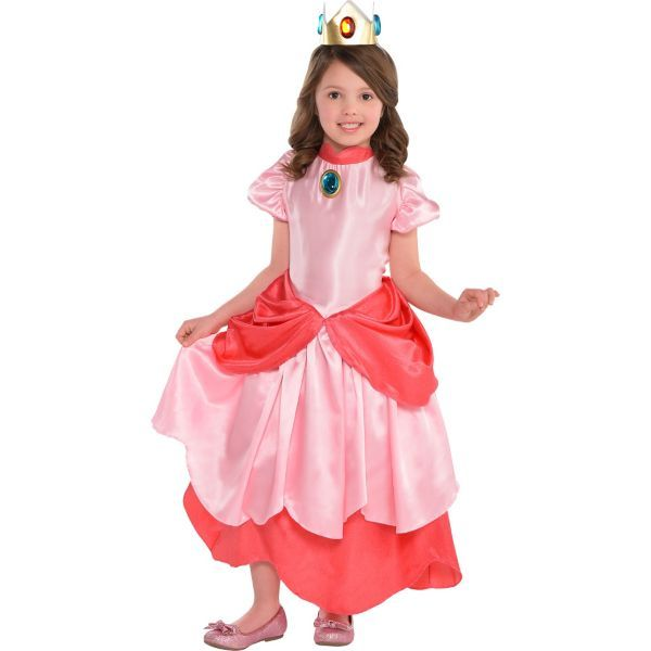 Little Girls Princess Peach Costume Deluxe - Super Mario ...