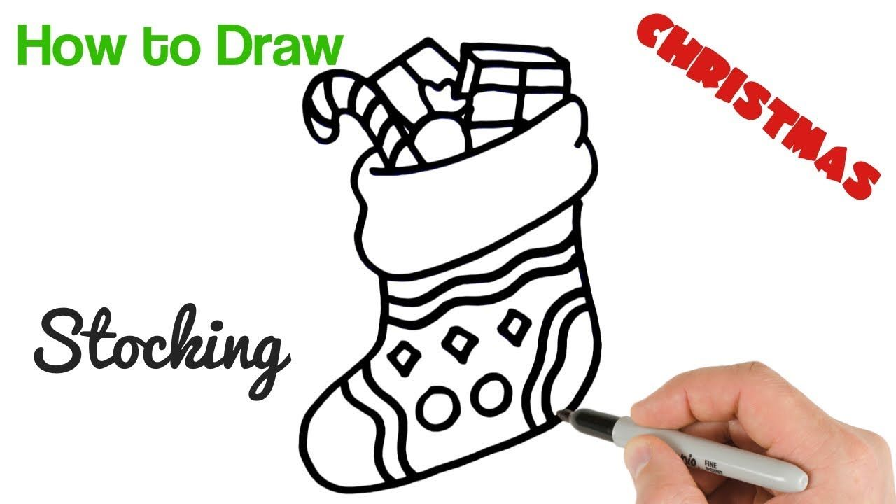 how to draw christmas stocking easy holiday drawings simple holidays christmas drawing drawings how to draw christmas stocking easy