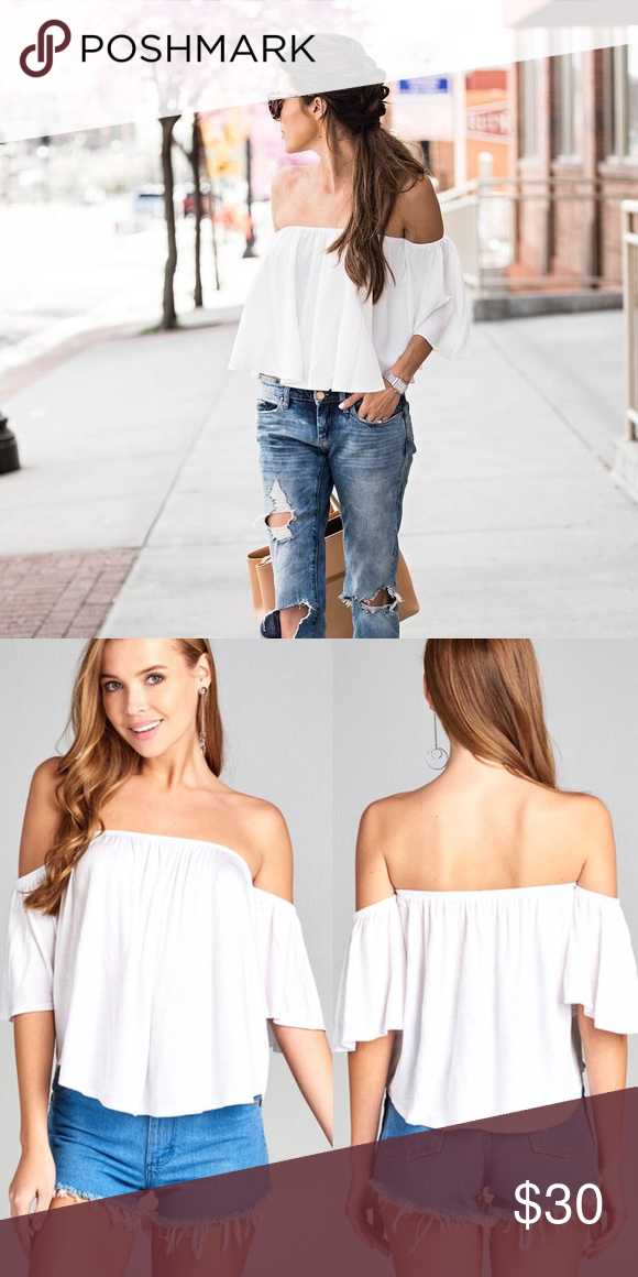 9503a61ed4a5ff LINDSAY💕 white off the shoulder top flowy 🌟 actual item for sale in  pictures 2🌟 ✖ styling ideas in all other pics from Pinterest ✖ True to size  ...