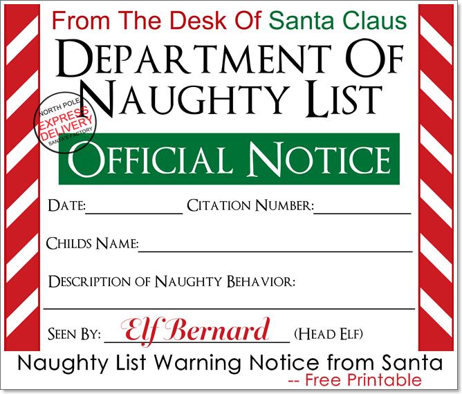 Naughty List Warning Notice from Santa Free Printable