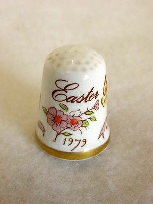 English Signed Hand Painted Bone China Thimble Bows & Butterflies EASTER 1979.