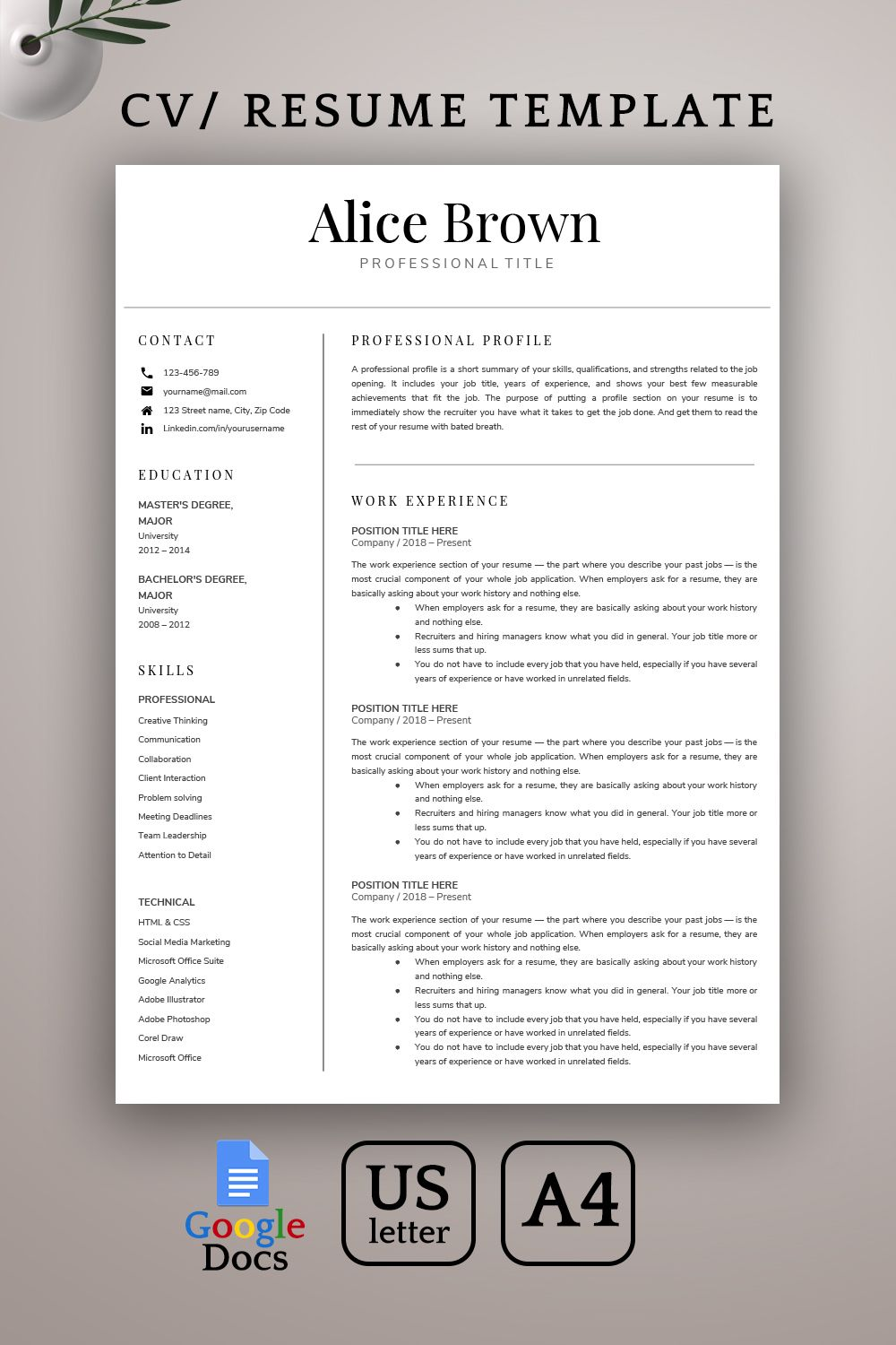 Google Docs Resume Template Creative Resume Template CV