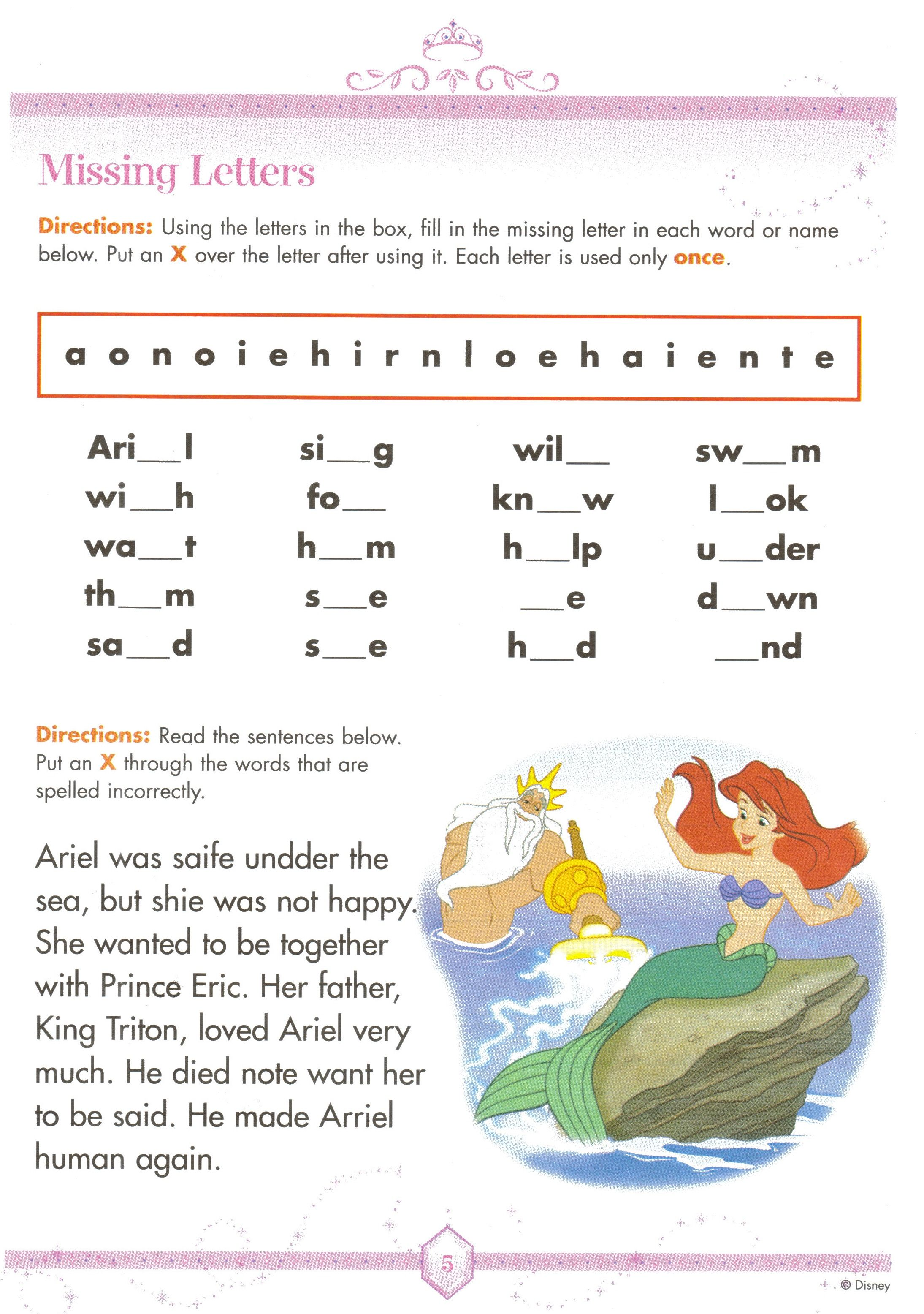 Free Printable Holiday Worksheets | Little Mermaid Ariel Spelling ...