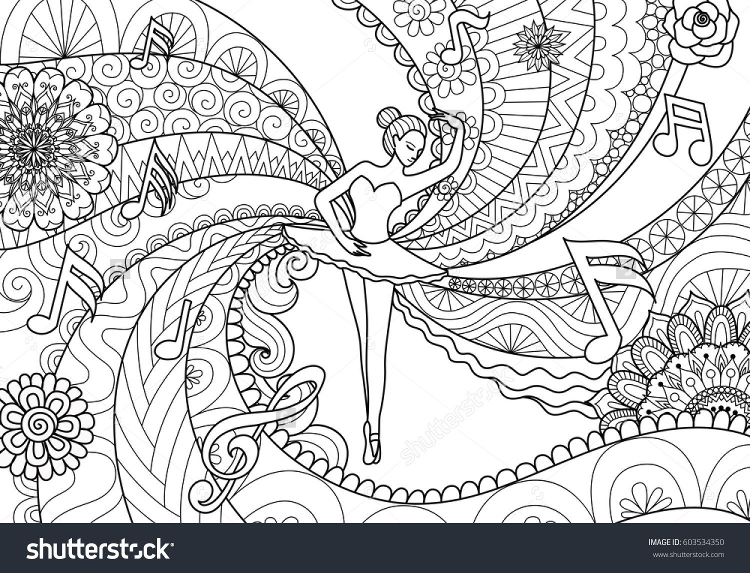 zendoodle design of ballet dancer for coloring book pages