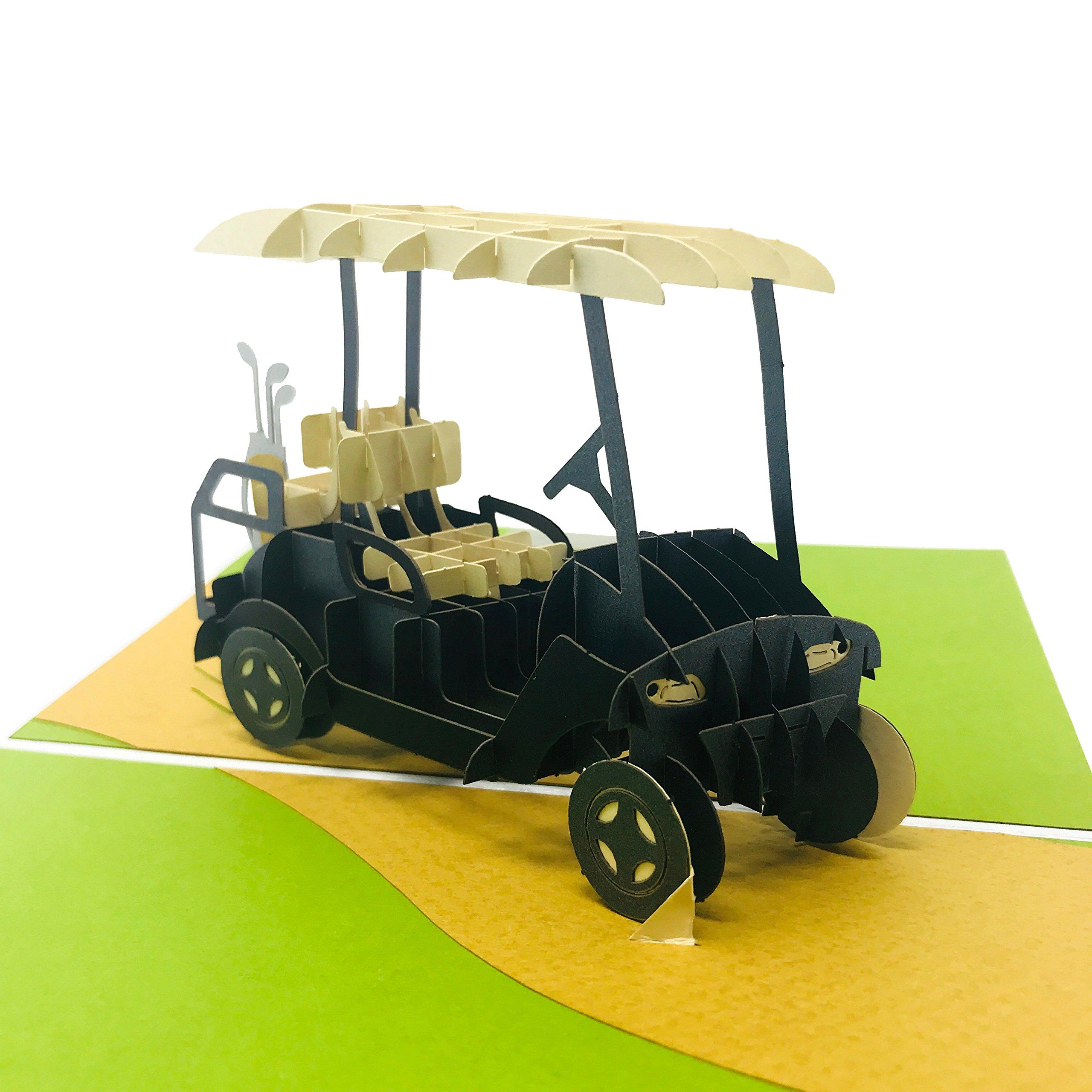 Golf birthday wow golf cart 3d pop up greeting card for
