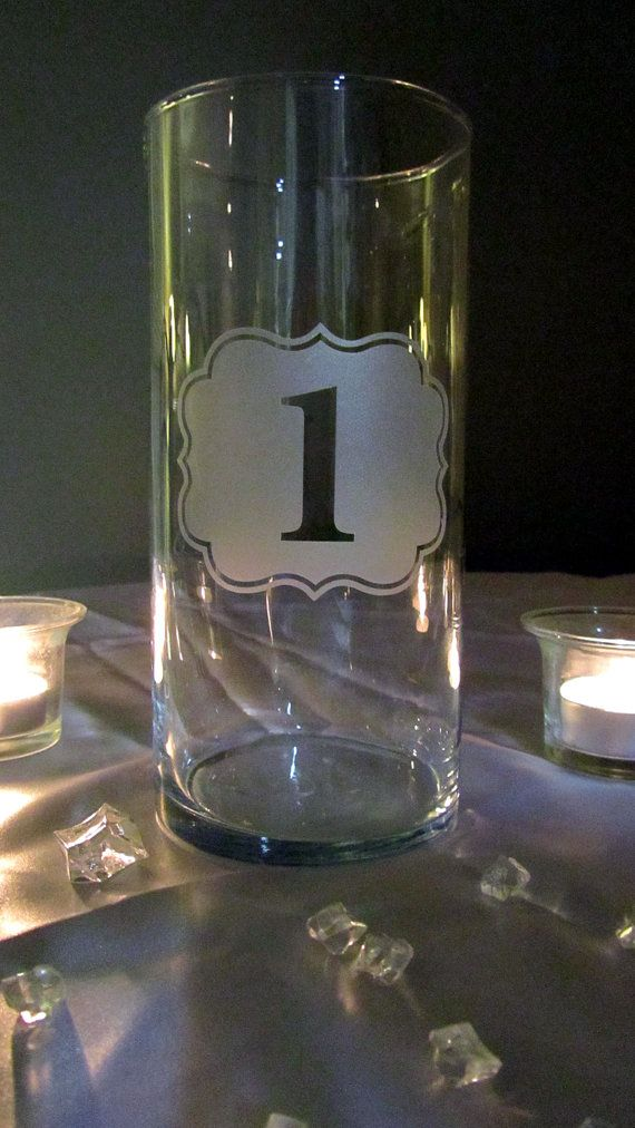 Etched Glass Vinyl Number Decal On A Vase Perfect For Table