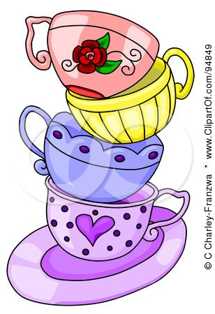 Google Image Result For Http Images Clipartof Com Small 94849 Messy Stack Of Colorful Tea Cups On A Purple Saucer Poster Art Tee Kunst Tasse Tee Tassen Kunst