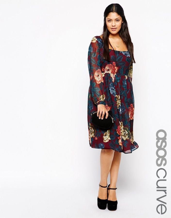 Plus Size Midi Dress In Winter Floral | Fabulous Curvy Fashion ...