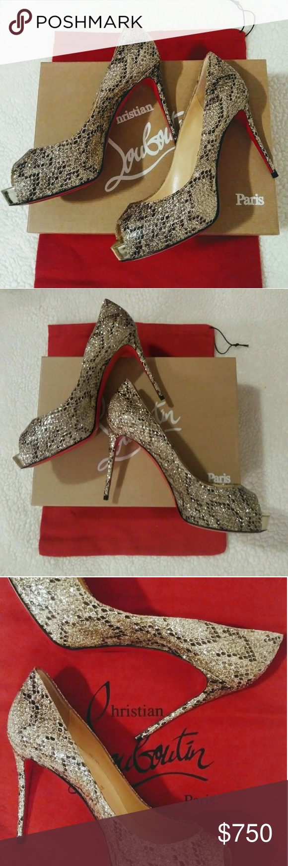 pretty nice 15ccf 54fb5 Christian Louboutin Gold New Very Prive 100 Heels All that ...