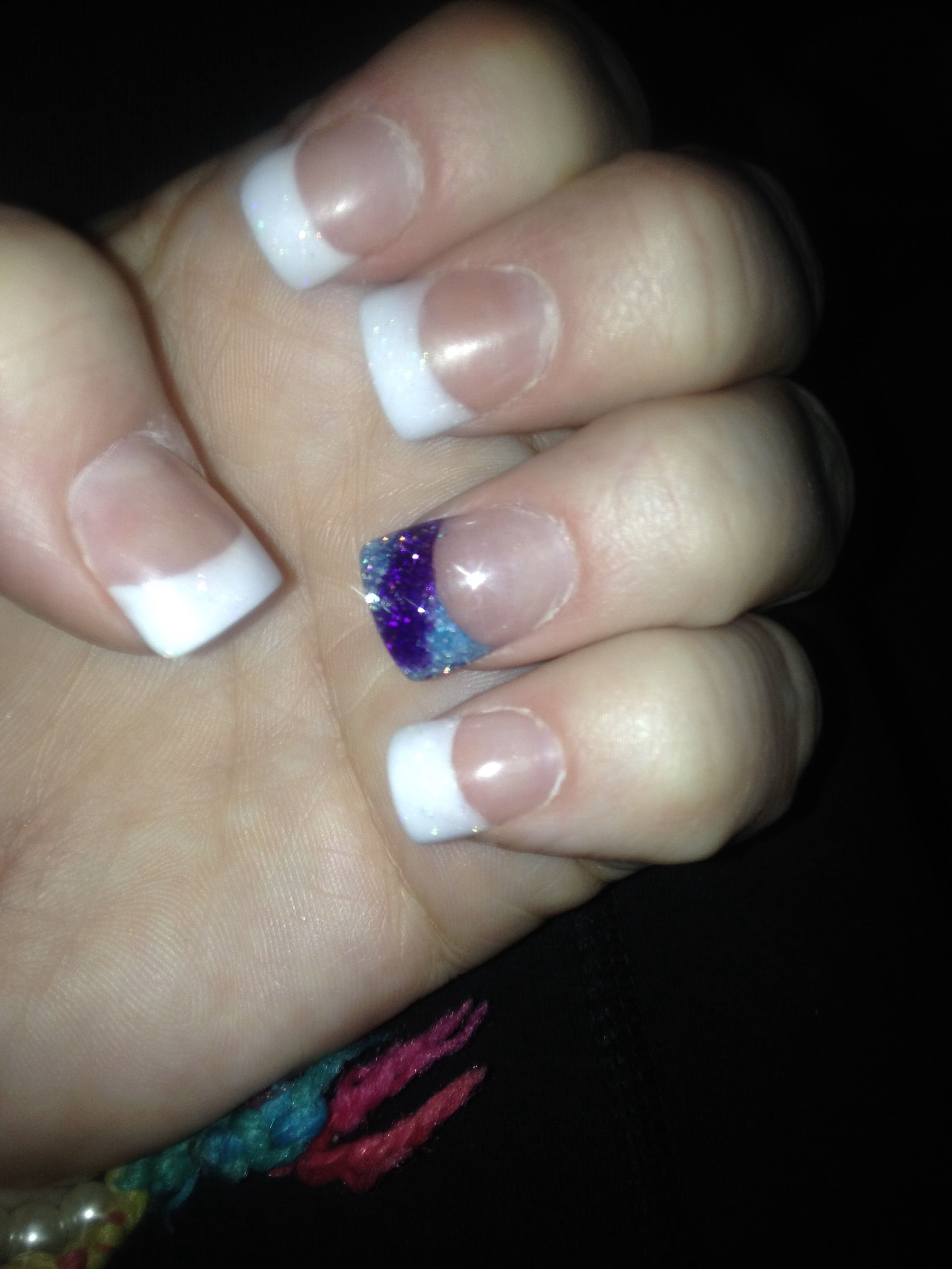 French with teal and purple tie dye accent nail | acrylic nails ...