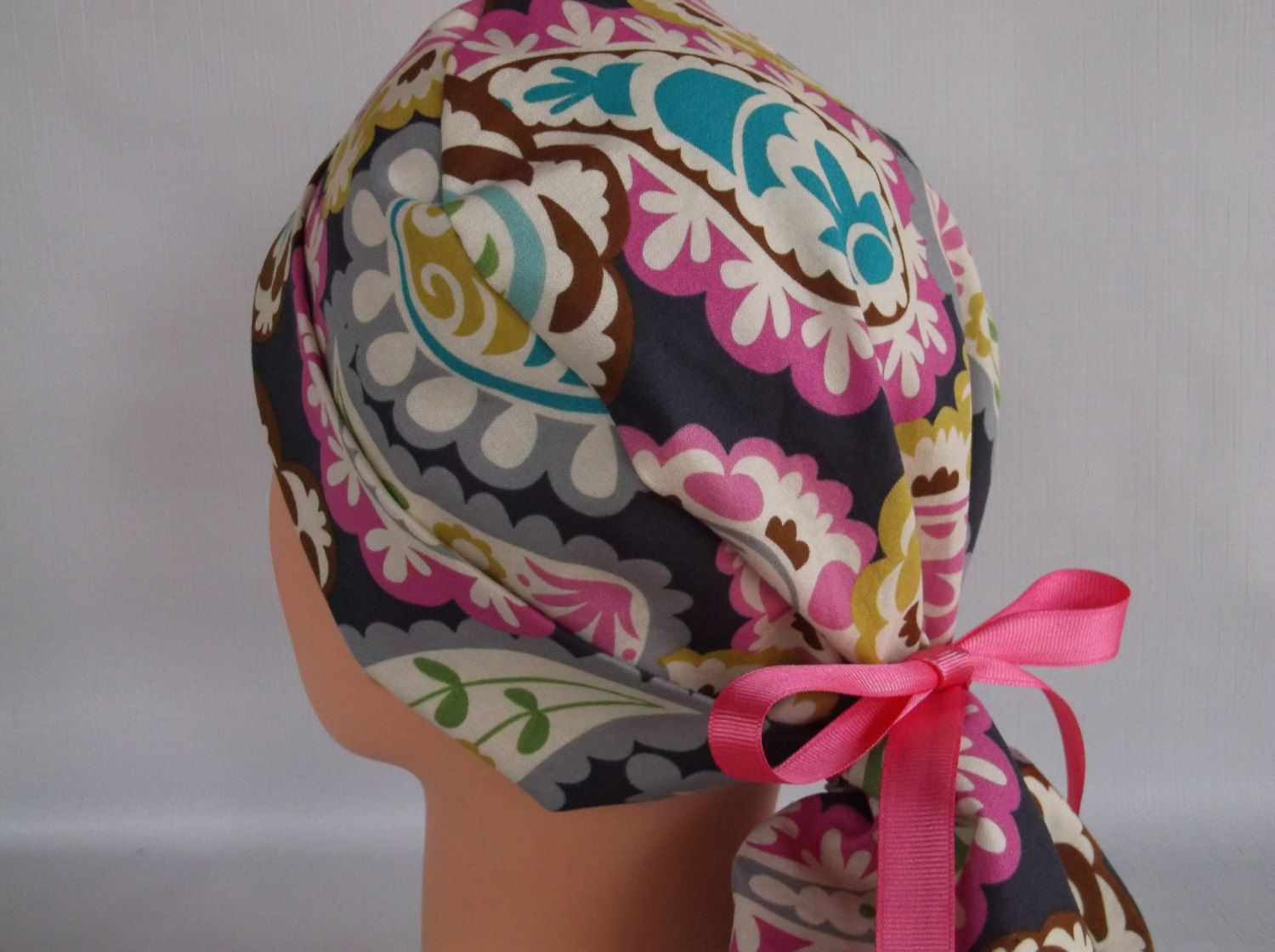 Lacy Paisley Ponytail - Womens lined surgical scrub cap, scrub hat ...