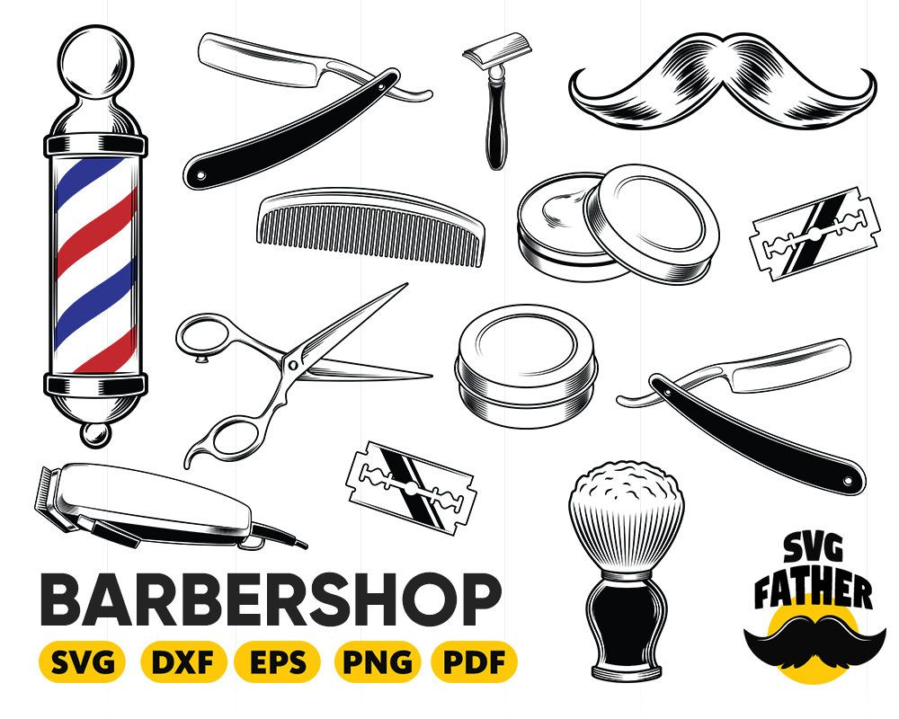 Barbershop Svg Hair Salon Accessories Barber Scissors Stylish Fashion Svg Eps Png Vector Clipart Digital Download Circuit Desain Logo Desain Gunting
