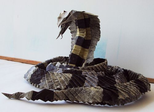 King Cobra Origami from a Single Sheet of Tissue Paper