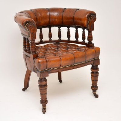 Antique Victorian Mahogany And Leather Desk Chair In 2020 Leather Desk Vintage Desk Chair Wooden Desk Chairs