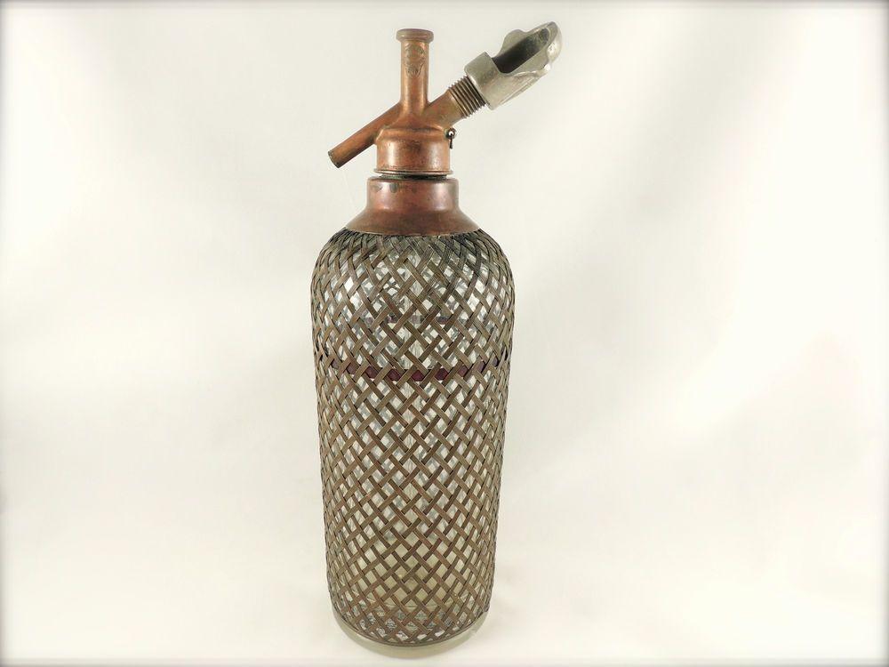 VTG 1930s NY SPARKLETS SELTZER SPRITZER BOTTLE 2D6-CZECH GLASS-COPPER TOP & MESH
