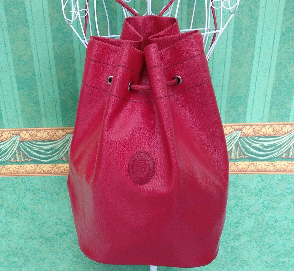 099ac8c702 Borsa vintage Trussardi secchiello tracolla rossa vera pelle sacco leather  bag