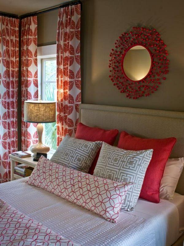 gardinen dekorationsvorschläge dekorativer spiegel - gardinen muster für wohnzimmer